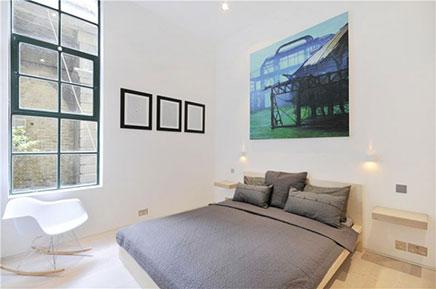 Schlafzimmer alten Lagerhaus-Wohnung in London (6)