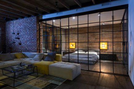 attraktive-industrie-loft-schlafzimmer