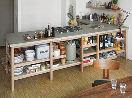 Eiche Küche mit Betonoberfläche