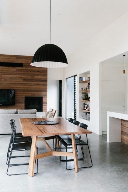esstisch in einem wohnzimmer mit k che wohnideen einrichten. Black Bedroom Furniture Sets. Home Design Ideas