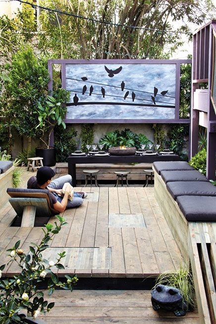 backyard patio designs with fireplace pit