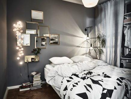 Gem tliches schlafzimmer mit grauen w nden und goldenen details wohnideen einrichten - Gemutliches schlafzimmer ...