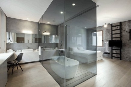 Beautiful Bathroom Glass Wall Wood Flooring Black Chair Bathtub White Bedroom