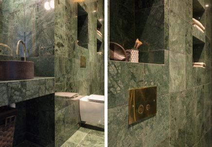 Kleines Schmales Badezimmer In Grunem Marmor Wohnideen Einrichten