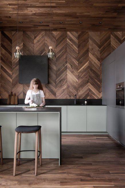Kuche Mit Holzboden Decken Und Wandverkleidungen Wohnideen Einrichten