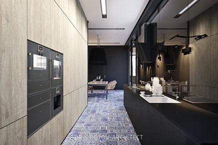 Matt schwarze Küche mit Delfst blauen Fliesen