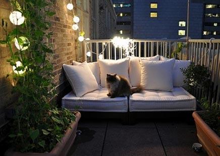 Romantischen Balkon mit Licht
