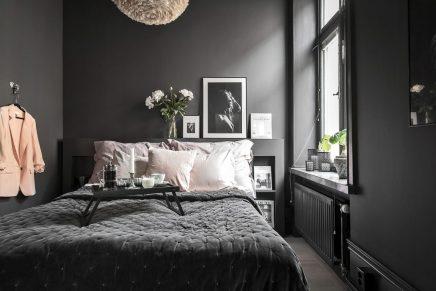 scandinavian schlafzimmer mit schwarzen w nden wohnideen einrichten. Black Bedroom Furniture Sets. Home Design Ideas