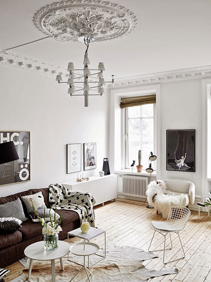 Skandinavische wohnzimmer mit authentischen neue details Schweden style einrichtung