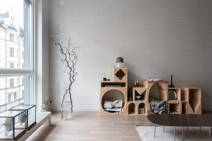 Vollständige moderne Wohnzimmer mit schöne Tapete | Wohnideen einrichten