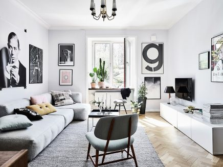 Woonkamer Vintage Bank : Wohnzimmer mit einer mischung aus skandinavischen und vintage