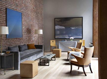 Wohnzimmer Ziegelwand Progo